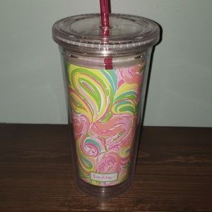 Lilly Pulitzer Flamingo Reusable Plastic Tumbler